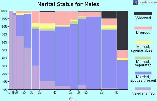 Columbia County marital status for males