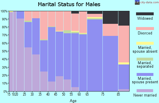 Greenbrier County marital status for males