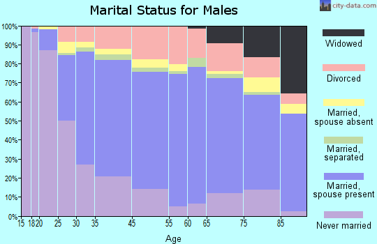 Aurora County marital status for males