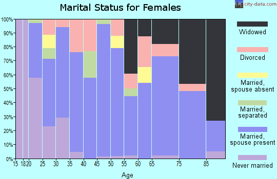Giles County marital status for females