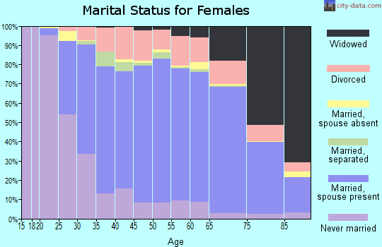 Centre County marital status for females