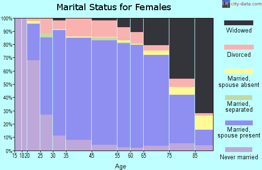 Hendricks County marital status for females