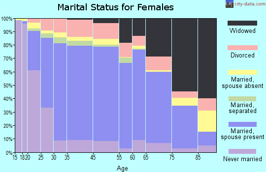 Gillespie County marital status for females