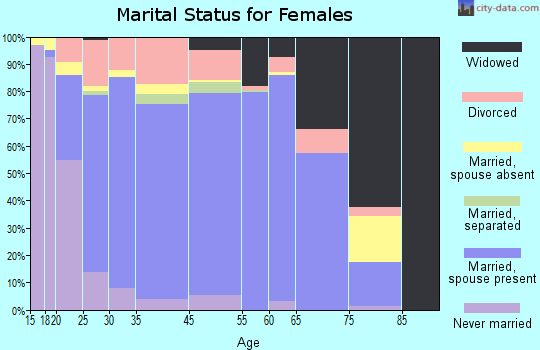 Windham County marital status for females