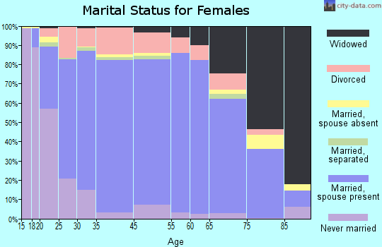 Bell County marital status for females