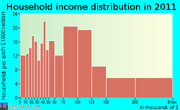 Newbury household income distribution