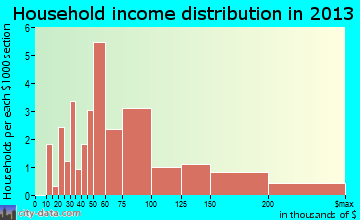 Center City household income distribution