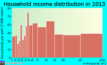 Wildwood household income distribution