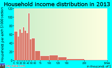Branson household income distribution