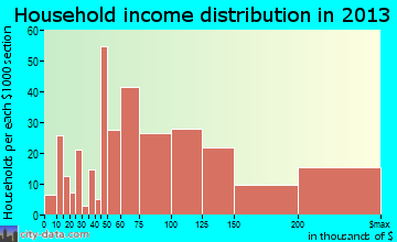 Pleasantville household income distribution