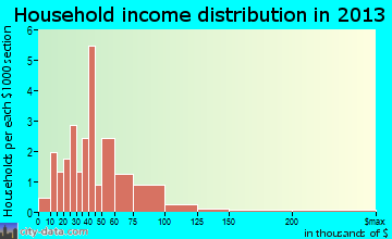 Fredericksburg household income distribution