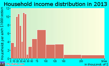 Langhorne household income distribution