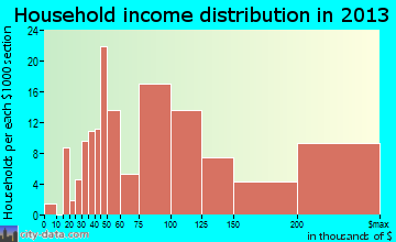Oak Hill household income distribution