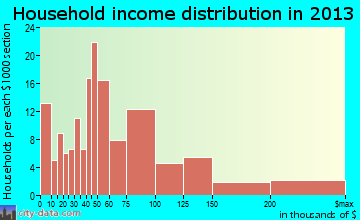 Guilford Center household income distribution
