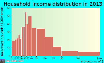 Warrenville household income distribution
