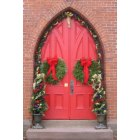 Cheshire: Decorated Red Door, St. Peter's Cheshire, founded 1760, 250th Anniversary