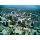 Recent (4/20/05) photo of downtown San Jose. Tech Museum (Blue Dome), Adobe World Headquarter, Ceasar Chavez Plaza, Fairmont Hotel, Knight Ridder Bldg. & the new city hall rising in the background. Lower right is San Carlos St. leading East to SJ University