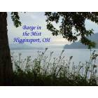 Higginsport: Barge in the mist on Ohio River at Higginsport, Ohio