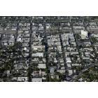Modesto: An aerial view of downtown Modesto, California looking West