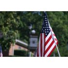 Greeneville: Flag across from First Baptist Church Downtown