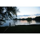 Hendersonville: Man fishing at twilight on Old Hickory lake.