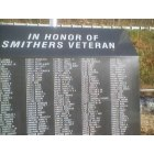 Smithers: City of Smithers - Military Veterans Memorial located on Main Street in Smithers - has the names of ALL the people from Smithers who have served in the Military