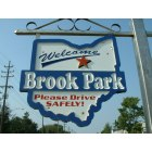Brook Park: Welcoming sign, Engle and Sheldon roads, Brook Park, Ohio.