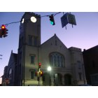 Mount Pleasant: Town clock church at dusk on an October night