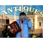 Ruthven: Take me to your leader of antique bargains!, is what this alien-dressed Ruthven resident is most probably not asking as he begrudgingly poses for this comical shot, in front of this towns premier antique/curio shop, located on Main Street.