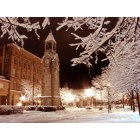 Corning: The clock tower on Market Street on a silent snowy night.
