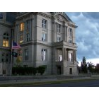 Terre Haute: A haunting photo of our newly renovated courthouse in downtown Terre Haute...just prior to a thunderstorm at dawn.