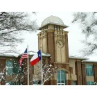 Keller: Keller City Hall with American & Texas flags during 02/2010 record snow