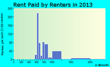 Mountain Village rent paid by renters for apartments graph