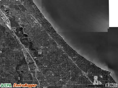 New Trier township, Illinois satellite photo by USGS