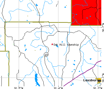 Oak Hill township, MO map