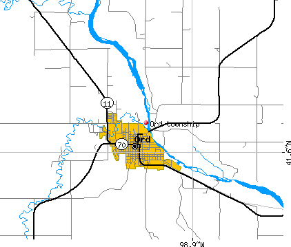 Ord township, NE map