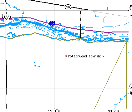 Cottonwood township, NE map