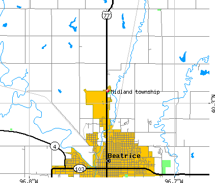 Midland township, NE map