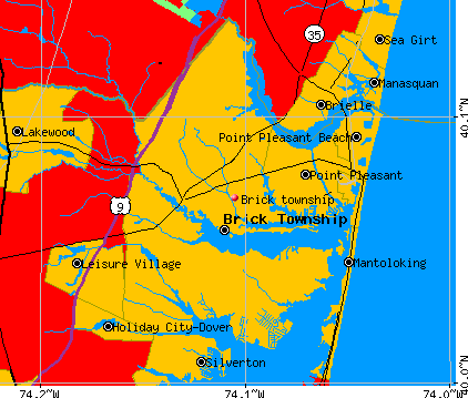 Brick township, NJ map