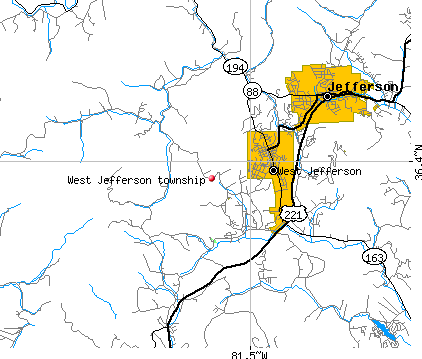 West Jefferson township, NC map