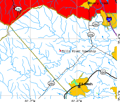 Mills River township, NC map