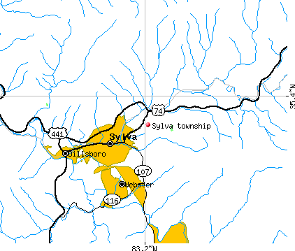Sylva township, NC map