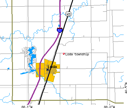 Loda township, IL map