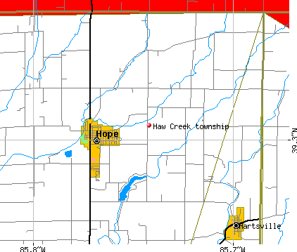 Haw Creek township, IN map