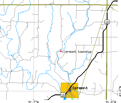 Clermont township, IA map