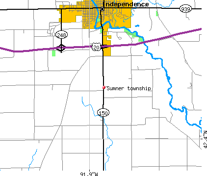 Sumner township, IA map