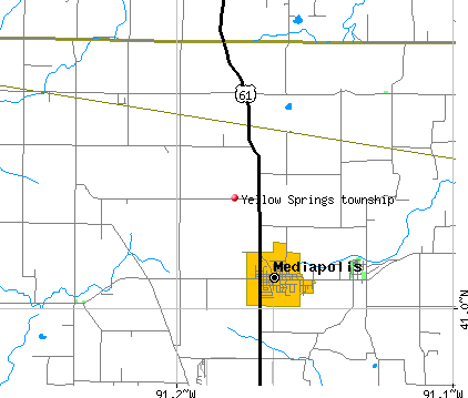 Yellow Springs township, IA map