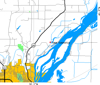 Tama township, IA map