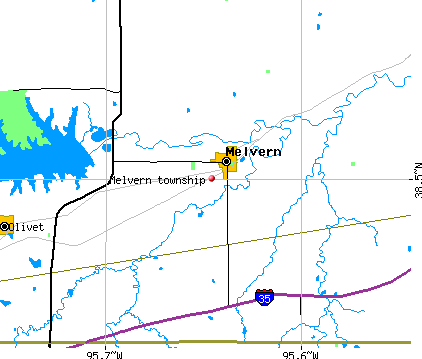 Melvern township, KS map