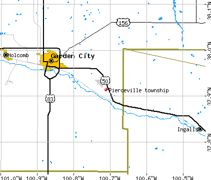 Pierceville township, KS map
